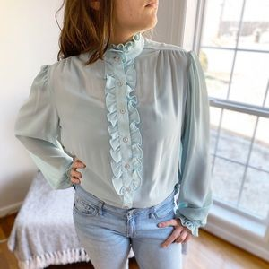 Vintage Victorian High Neck Ruffled Sheer Blouse